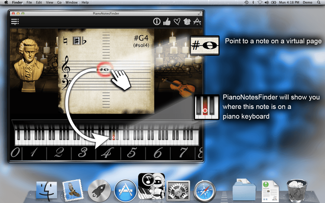 Point to a note on a virtual page.PianoNotesFinder will show you where this note is on a  piano keyboard.