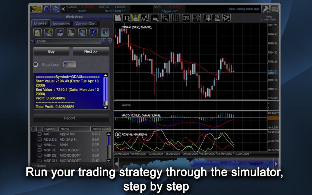 Run your trading strategy through the simulator,  step by step